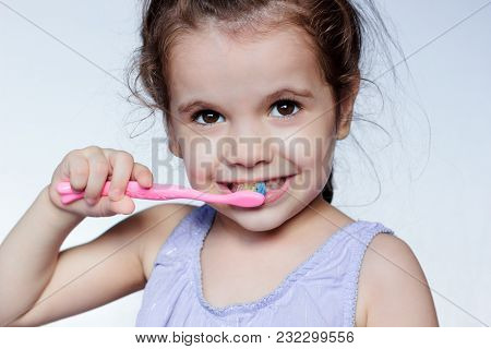 Little Kid Girl Cleaning Teeth By Toothbrush, Dental Care Concept
