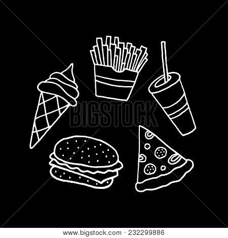 Linear Cartoon Hand Drawn Fast Food Collection. Cute Vector Black And White Fast Food Collection. Is