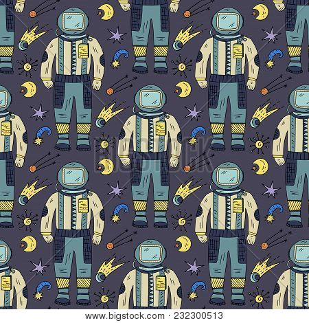 Seamless Vector Pattern With Cosmos Doodle Illustrations. Galaxy Handdrawn Elements With Spacemans.