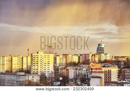 Scenic Sunset Over Szczecin City In Poland.