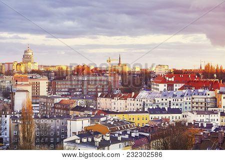 Purple Sunset Over Szczecin City In Poland.