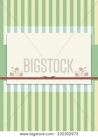 Yellow-green Striped Paper Scrub With Red Bow Of Satin Ribbon And Semi-transparent Layer Postcard