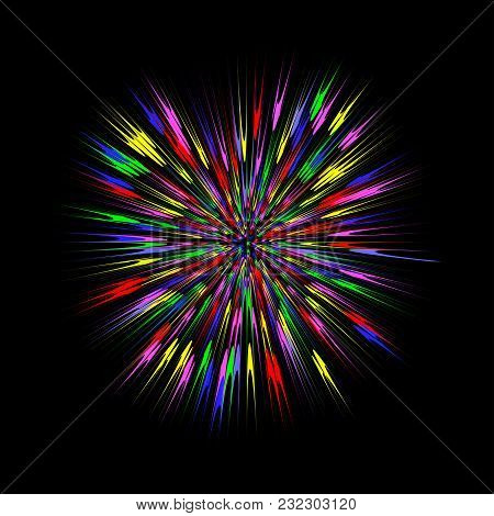 Colorful Burst, Abstract Explosion. Color Blast Graphic Effect. Vector Illustration.