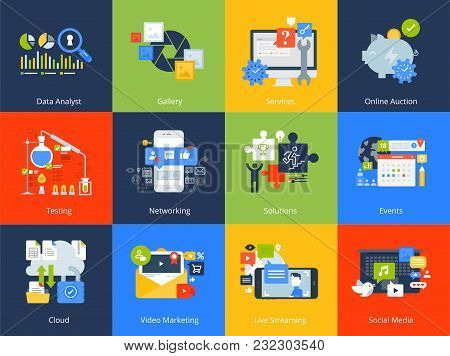 Flat Design Concept Icons. Vector Illustrations For Business Solutions And Events, Networking, Cloud