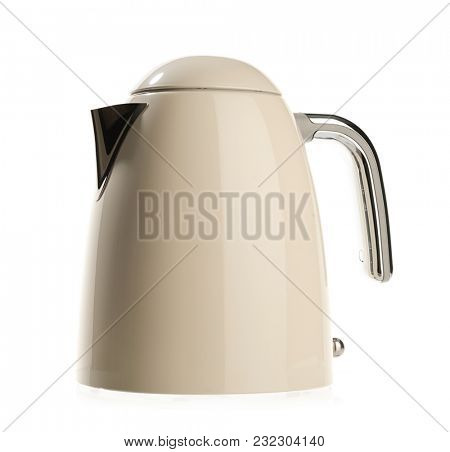 Retro style electric kettle isolated on white background.