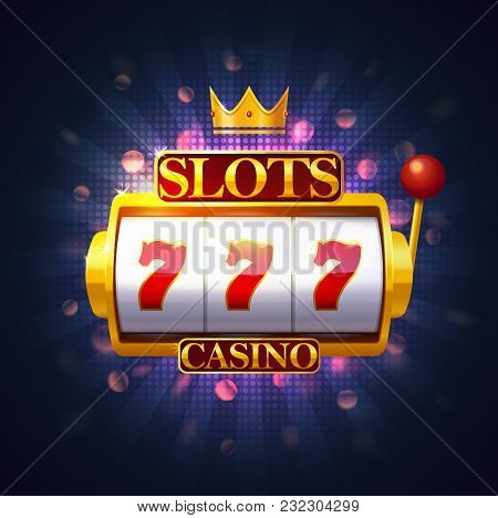 Slot Machine With Lever And Three Sevens On Screen. Casino Fruit Machine Or Puggy, Pokies Or One-arm