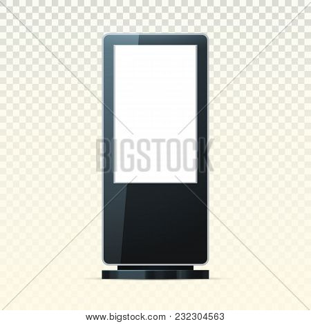Pos Or Poi Advertising Stand On Transparent. Retail Ads Banner Or Trade Blank Signboard Mockup, Digi