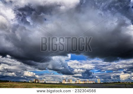 Rain Clouds Over The City, Outdoors About The Lake, Town Houses, Sunny Summer Day