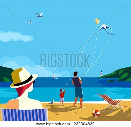 Kiting On Sea Beach. Family Leisure Activity On Sand Seashore. Colorful Cartoon. Adult Father, Small