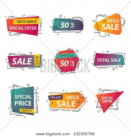 Discount Geometric Tags Or Linear Stickers With Prices. Labels For Advertisement Of Closeout, Coupon