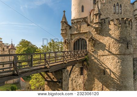 Castle Lichtenstein With Entrance Gate And Drawbridge