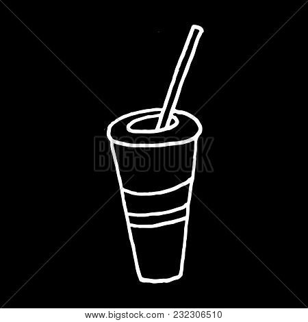 Linear Cartoon Hand Drawn Drink Drawing. Cute Vector Black And White Drink Drawing. Isolated Monochr
