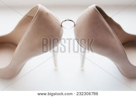 Morning Bride. White Wedding Shoes For Women With Ring
