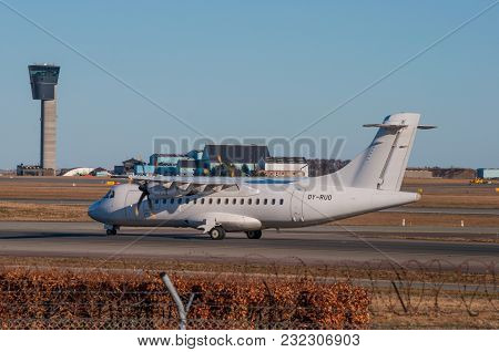 Copenhagen Denmark - March 17. 2018: Danish Air Transport Atr 42-500 Turboprop Airplane