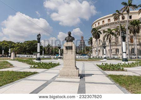 Havana, Cuba - March 18, 2018: Statue Of Martin Morua Delgado Near Capitol In Havana. Havana Old Tow