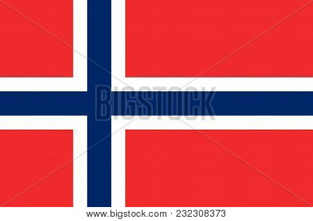 Norwegian National Flag, Official Flag Of Norway Accurate Colors, True Color
