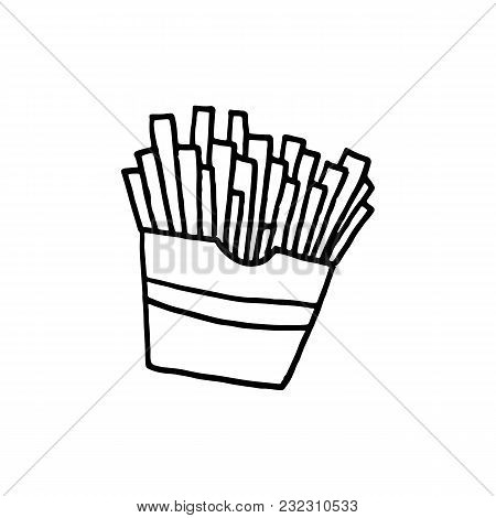 Cute Cartoon Hand Drawn French Fries Illustration. Sweet Vector Black And White French Fries Illustr