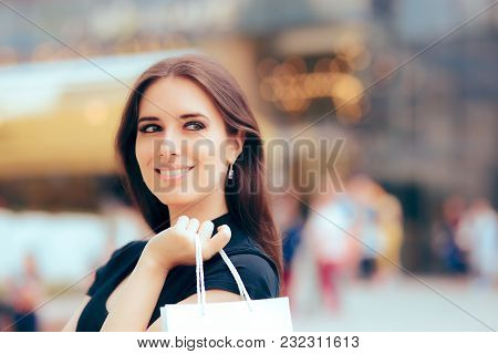Happy Woman In Front Of Shopping Mall Center