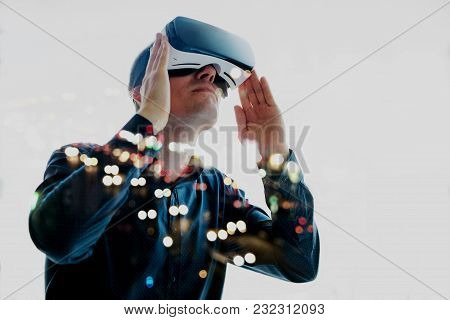 The Man With Glasses Of Virtual Reality. Future Technology Concept. Modern Imaging Technology