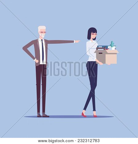Angry Boss Firing Employee. Dismissed Frustrated Business Woman Carrying Box With Her Things Vector