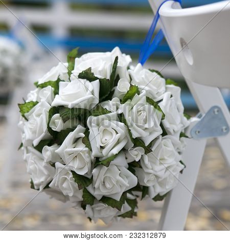 The Wedding Aisle Decor With White Rose In Outside Cafe