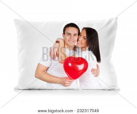 Digital printing on the sofa cushion, photo of lovely young couple on pillow isolatedon white background