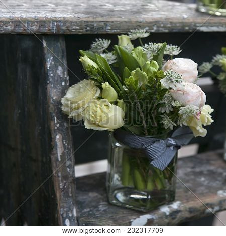 Decoration For Dining Table. Bouquet Of White And Pink Rose   In Vase Of Glass.