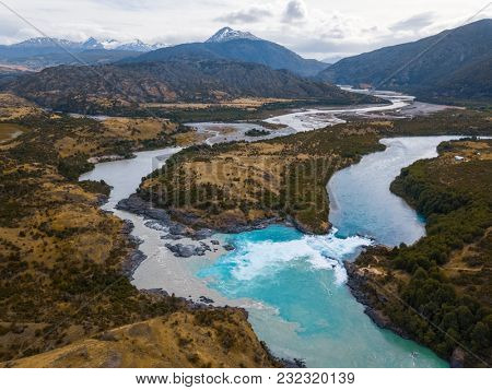 Aerial view of the confluence of two rivers - river of Baker and the river of Neff, Patagonia, Chile