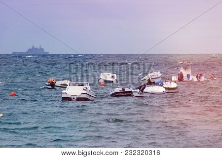 Fishing Boats Moored On The Shore Of The Sea
