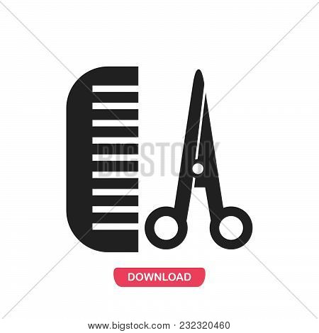Comb And Scissors Icon Vector In Modern Flat Style For Web, Graphic And Mobile Design. Comb And Scis