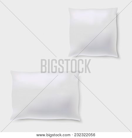 Blank Of Pillow On Grey Background. Vector