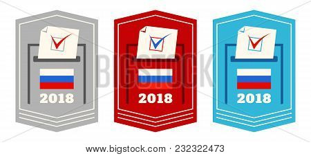 Vector Set Web Banners With Boxes For Voting In Russia. Presidential Election In Russia.