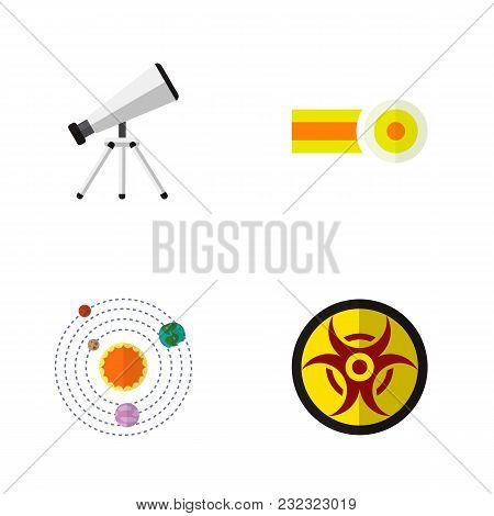 Icon Flat Knowledge Set Of Oxygen, Telescope, Solar System And Other  Objects. Also Includes Risk, C