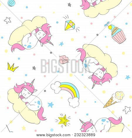 Seamless Vector Unicorn Pattern For Kids Textile, Prints, Wallpapper, Sccrapbooking. Doodle Cute Uni