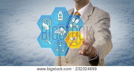 Unrecognizable Pharmaceutical Marketer Initiating An Electronic Shopping Basket. Pharma Industry Mar