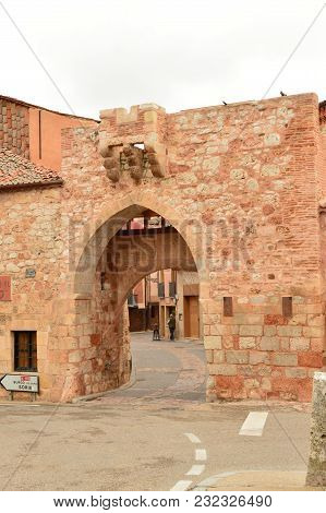 Entrance To The Town Of Ayllon Cradle Of The Red Towns In Addition Of Beautiful Medieval Town In Seg