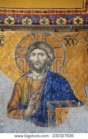 Istanbul, Turkey - March 28, 2012: Mosaic Of Jesus Christ In Cathedral Of Hagia Sophia.