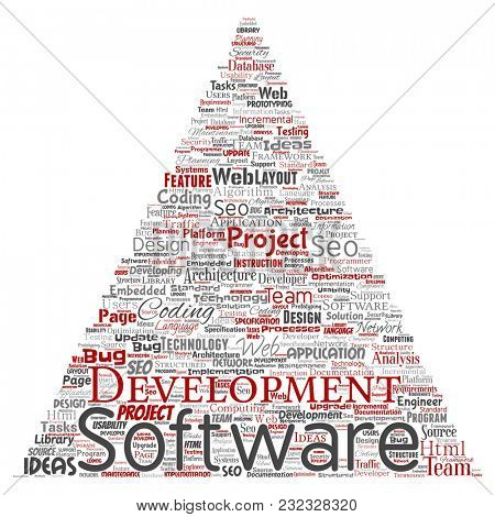 Conceptual software development project coding technology triangle arrow  word cloud isolated background. Collage of application web design, seo ideas, implementation, testing upgrade concept