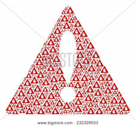 Hazard Triangle Sign Composition Composed Of Caution Pictograms. Vector Caution Pictograms Are Compo