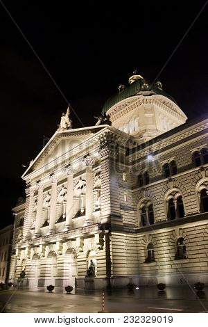 Federal Parliament Building, Bern, Switzerland, Night View From The Side