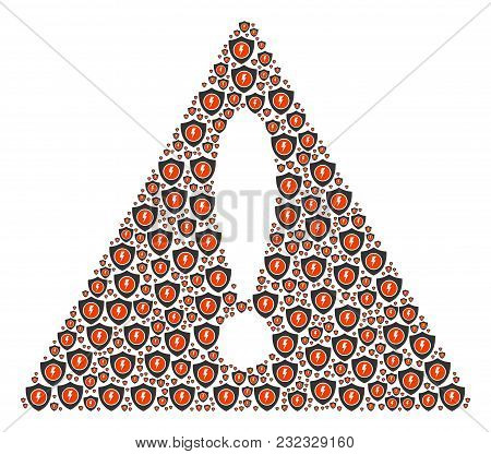 Notice Triangle Sign Collage Composed Of Electric Guard Icons. Vector Electric Guard Pictograms Are