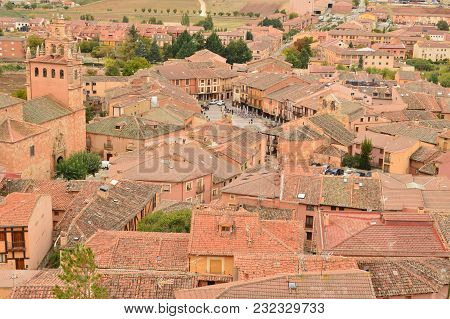 Aerial Views Of The Town Of Ayllon Cradle Of The Red Villages In Addition Of Beautiful Medieval Town
