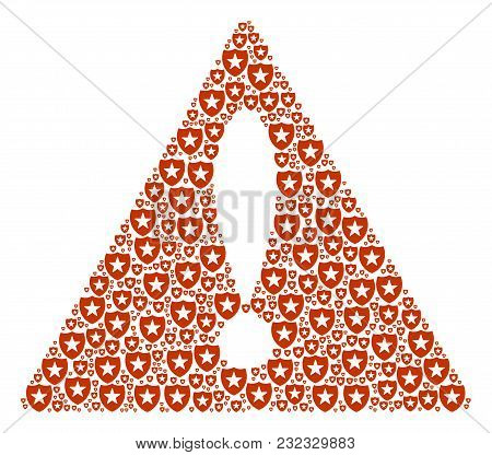 Attention Triangle Sign Mosaic Designed Of Guard Elements. Vector Guard Elements Are Organized Into