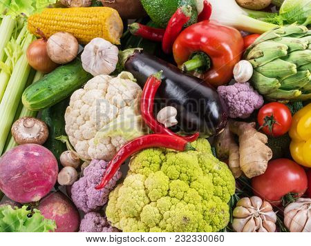 Different organic vegetables. Multicolored food background. Organic food.