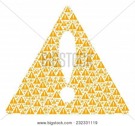 Advice Triangle Sign Concept Composed Of Warning Pictograms. Vector Warning Elements Are Combined In