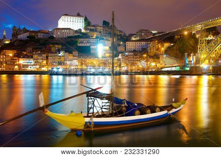 night view in Porto, Portugal.