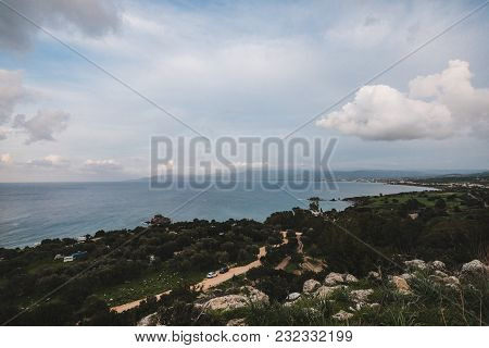 A View To Remains Of Ancient Amathus City And Akrotiri Bay From Acropolis Hill In Limassol, Cyprus