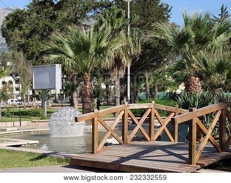 Bridge Across A Pond In The Park. Turkey