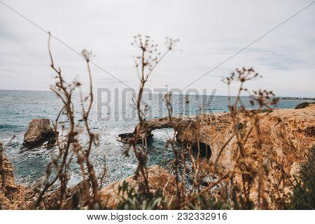 Rock Arch With Turquoise Sea Water Near Ayia Napa On Cyprus Island
