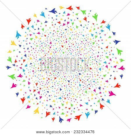 Multi Colored Airplane Intercepter Carnival Spheric Cluster. Vector Sphere Explosion Designed From S